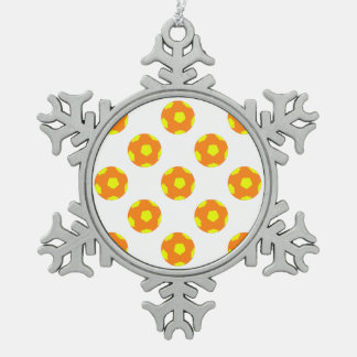 Orange and Yellow Soccer Ball Pattern Snowflake Pewter Christmas Ornament