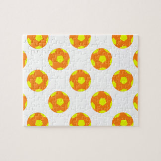 Orange and Yellow Soccer Ball Pattern Jigsaw Puzzles