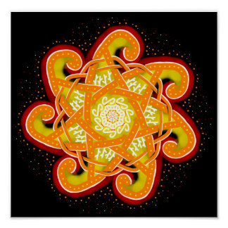 Orange and Yellow Sparkling Spiral Knotwork Star Poster