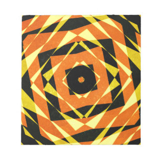 Orange and yellow striped diamond pattern notepad
