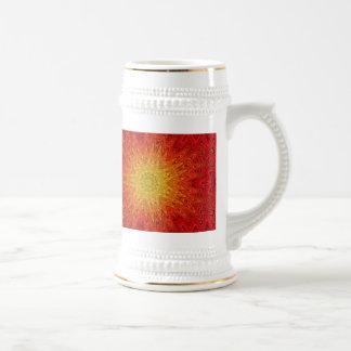 Orange and Yellow Sun/Star/Heart Mandala Beer Stein