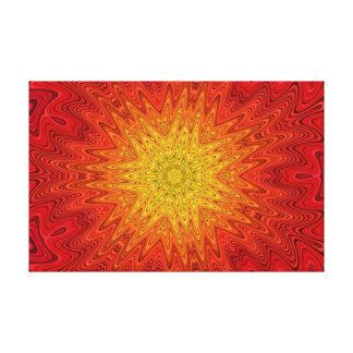 Orange and Yellow Sun/Star/Heart Mandala Canvas Print