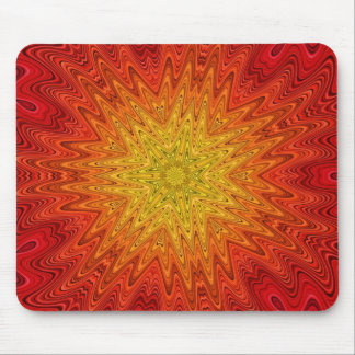 Orange and Yellow Sun/Star/Heart Mandala Mouse Pad