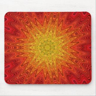 Orange and Yellow Sun/Star/Heart Mandala Mouse Pad
