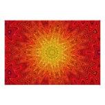 Orange and Yellow Sun/Star/Heart Mandala Photo Print