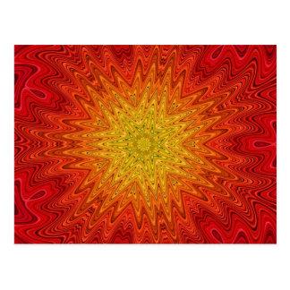 Orange and Yellow Sun/Star/Heart Mandala Postcard