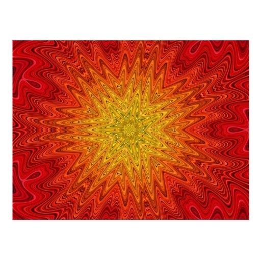 Orange and Yellow Sun/Star/Heart Mandala Post Cards
