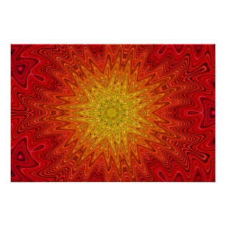 Orange and Yellow Sun/Star/Heart Mandala Poster