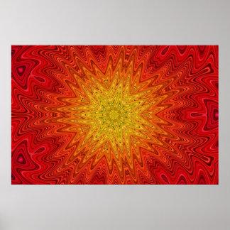 Orange and Yellow Sun/Star/Heart Mandala Posters