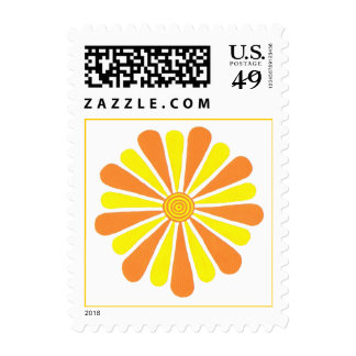 Orange and yellow sunshine flower stamps