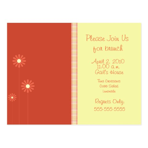 Orange and Yellow toned floral invite Postcard