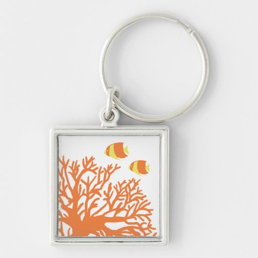 Orange and Yellow Tropical Angelfish Silver-Colored Square Keychain