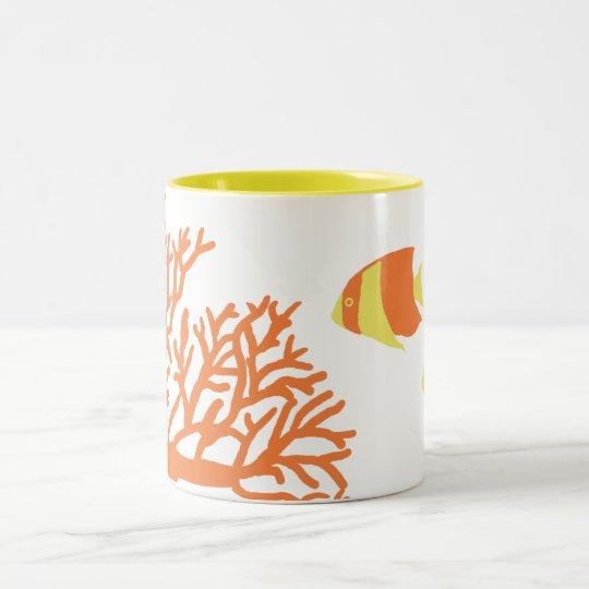 Orange and Yellow Tropical Angelfish Two-Tone Coffee Mug