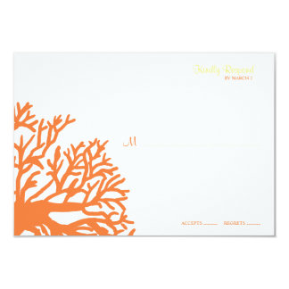 Orange and Yellow Tropical Coral Wedding rsvp Card