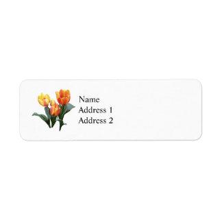 Orange and Yellow Tulips Custom Return Address Labels