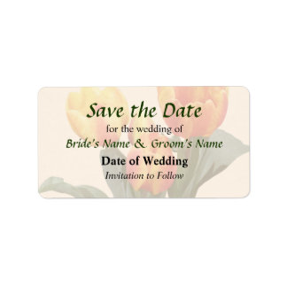 Orange and Yellow Tulips Save the Date Labels