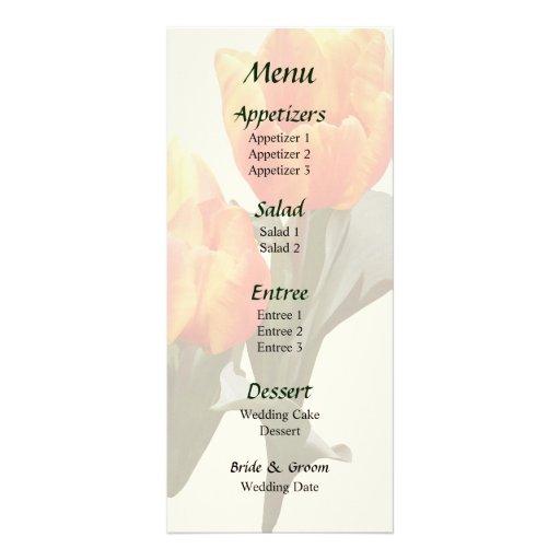 Orange and Yellow Tulips Wedding Menu Full Color Rack Card