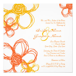 Orange and Yellow Wild Flowers Wedding Invitation