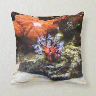 Orange Anemone Throw Pillow