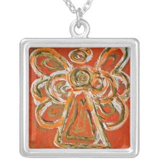 Orange Angel Art Silver Necklace Charm Pendant