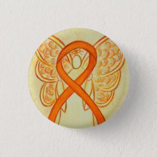 Orange Angel Awareness Ribbon Custom Art Pins