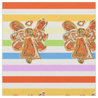 Orange Angel Rainbow Stripe Fabric Art Material