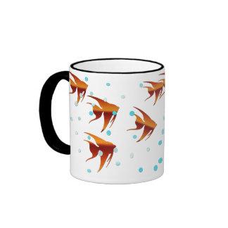 Orange Angelfish and Bubbles Coffee Mug