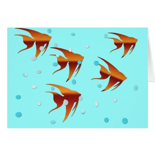 Orange Angelfish and Bubbles Notecard