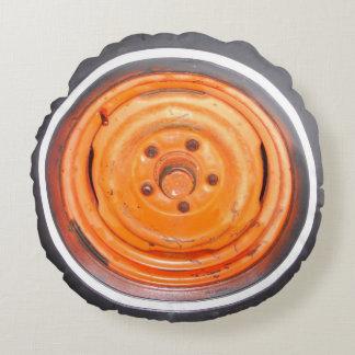 orange antique car flat tire round pillow
