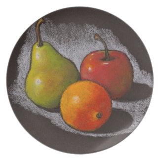 Orange, Apple, Pear: Oil Pastel Art on Black Party Plate
