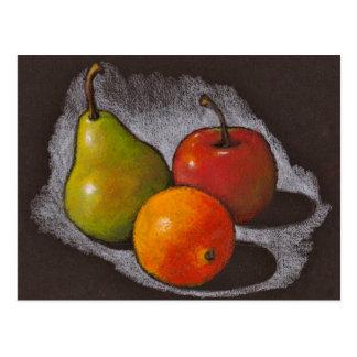 Orange, Apple, Pear: Oil Pastel Art on Black Postcard
