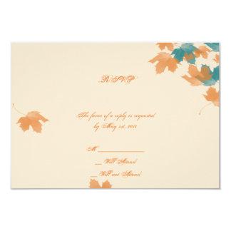Orange Aqua Autumn Maple Leaf Response Card
