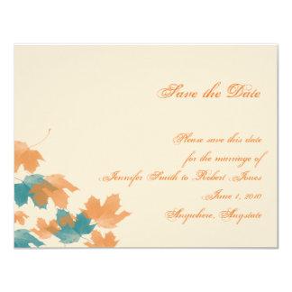 Orange Aqua Autumn Maple Leaf Save the Date Card