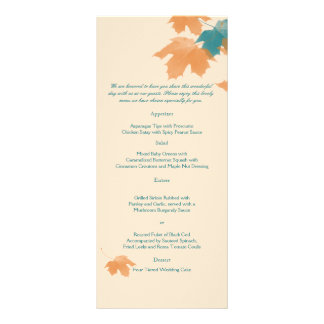 Orange Aqua Autumn Maple Leaf Wedding Menu Full Color Rack Card