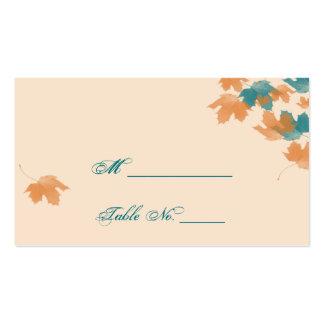 Orange Aqua Autumn Maple Leaf Wedding Place Cards