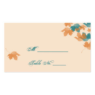 Orange Aqua Autumn Maple Leaf Wedding Place Cards Double-Sided Standard Business Cards (Pack Of 100)