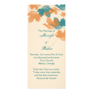 Orange Aqua Autumn Maple Leaf Wedding Program Customized Rack Card