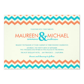 Orange & Aqua Chevron ZigZag Wedding Invitations