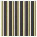 [ Thumbnail: Orange, Aquamarine, Brown, White & Black Pattern Fabric ]