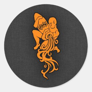 Orange Aquarius Classic Round Sticker