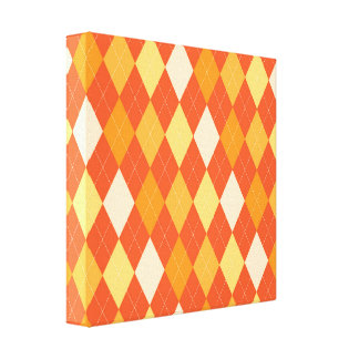 Orange argyle pattern canvas print