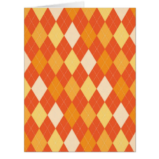 Orange argyle pattern card