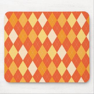 Orange argyle pattern mouse pad