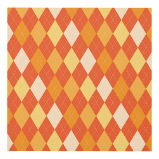 Orange argyle pattern panel wall art