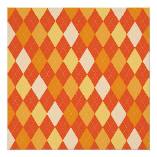 Orange argyle pattern poster