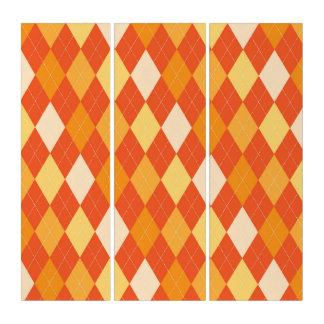 Orange argyle pattern triptych