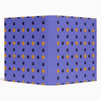 Orange Argyle Paw Prints 3 Ring Binders
