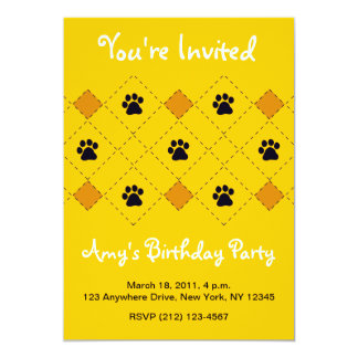 Orange Argyle Paw Prints Card