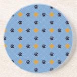 Orange Argyle Paw Prints Coaster