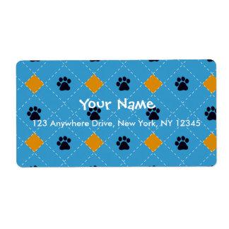 Orange Argyle Paw Prints Label